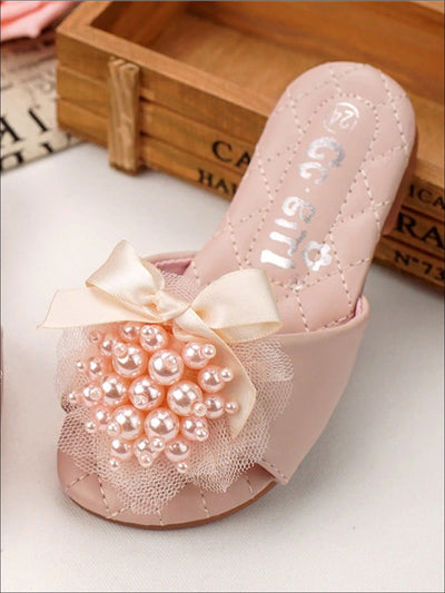 Girls Faux Pearl Embellished & Bow Applique Slip On Sandals - Pink / 1 - Girls Sandals