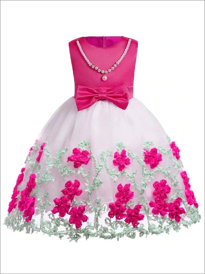 Girls Faux Pearl Embellished Necklace Floral Tulle Special Occasion Dress - Pink / 2T - Girls Spring Dressy Dress