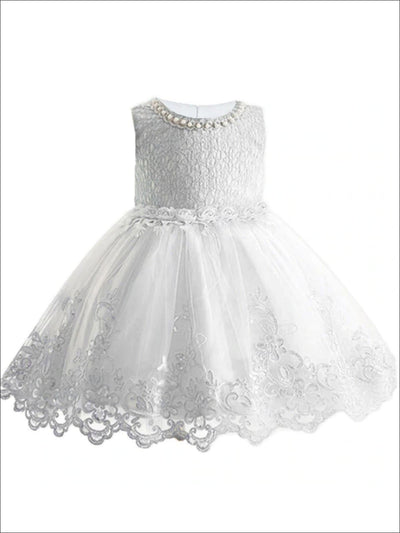 Girls Faux Pearl & Floral Applique Lace Embroidery A-Line Special Occasion Party Dress - White / 3T - Girls Spring Dressy Dress