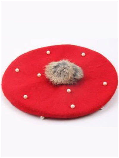 Girls Faux Pearl with Fur Ball Beret - Red - Girls Beret