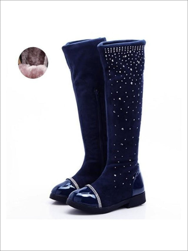 Girls Faux Suede Crystal Zipper Riding Boots (Black Navy) - Girls Boots