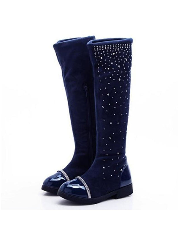 Girls Faux Suede Crystal Zipper Riding Boots (Black Navy) - Blue / 1 - Girls Boots