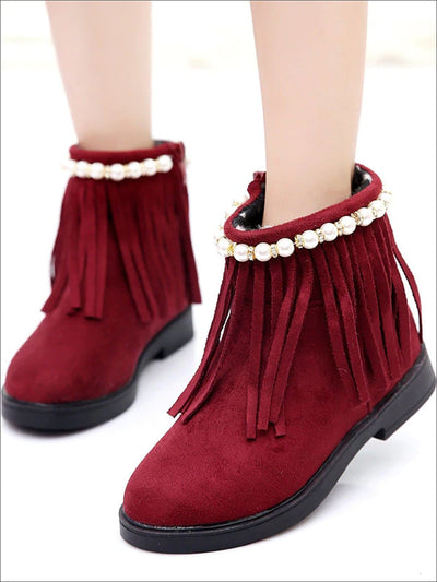 Girls Faux Suede Pearl Embellished Fringe Booties - Red / 3 - Girls Boots