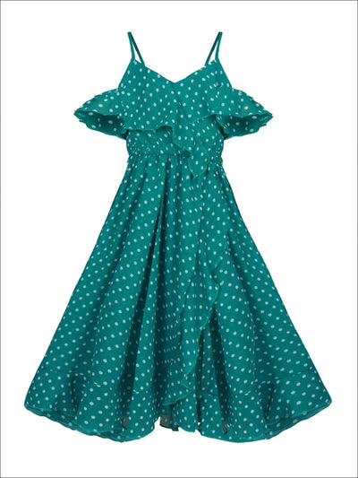 Girls Faux Wrap Polka Dot Off the Shoulder Ruffled Dress - Green / 2T/3T - Girls Spring Casual Dress