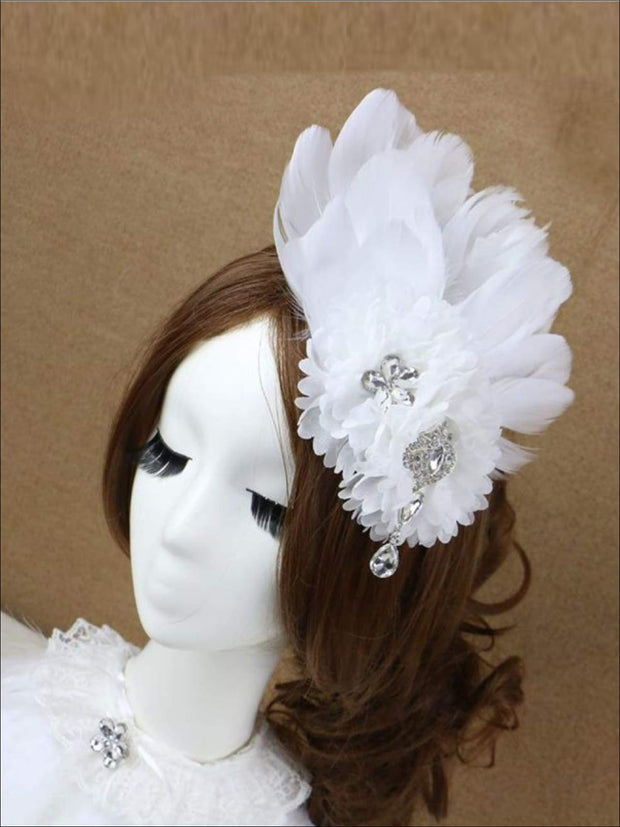 Girls Feather and Flower Rhinestone Applique Swan Headpiece - Hair Accessories