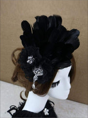 Girls Feather and Flower Rhinestone Applique Swan Headpiece - Black - Hair Accessories