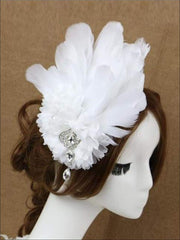 Girls Feather and Flower Rhinestone Applique Swan Headpiece - White - Hair Accessories