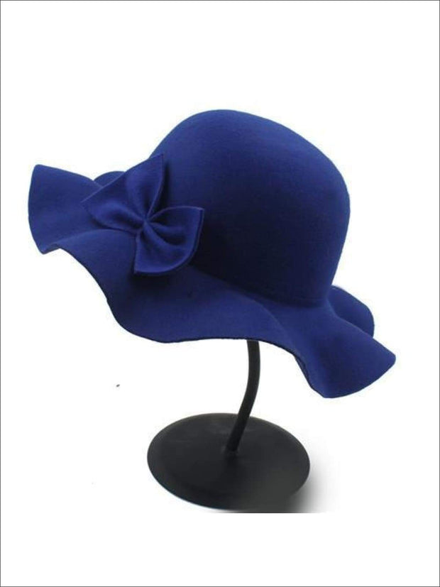 Girls Fedora Hat - Blue / Brim size: 4.5CM Hat size: 52-54CM Hat High: 9CM - Girls Hat