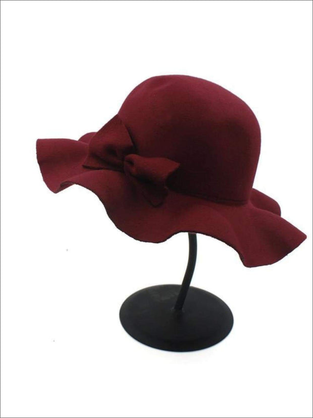 Girls Fedora Hat - Burgundy / Brim size: 4.5CM Hat size: 52-54CM Hat High: 9CM - Girls Hat