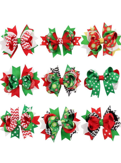 Girls Festive Holiday Hair Bow Set - 9 PC SET - Hair Accessories