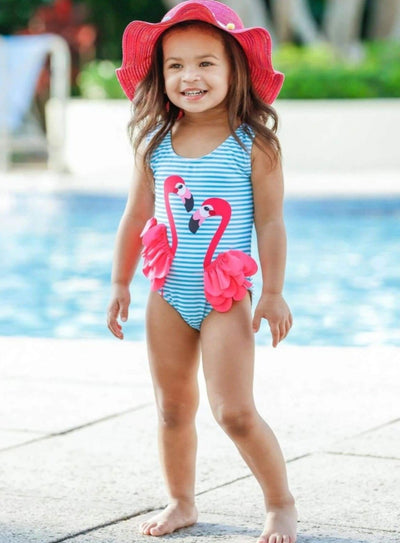 Girls Flamingo Ruffled Wings Striped One Piece Swimsuit - Girls One Piece Swimsuit