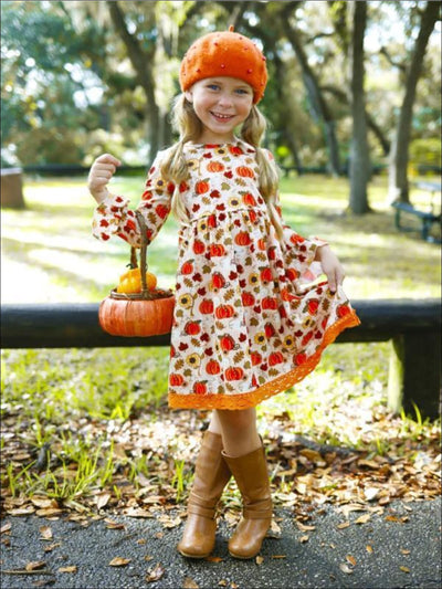 Girls Flared Long Sleeve Crochet Hem Pumpkin Print Dress - Girls Fall Casual Dress