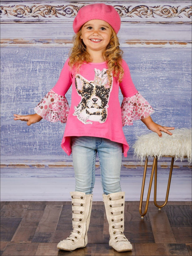 Girls Flared Long Sleeve Hi-Lo Sequin Appliqued Tunic - Girls Spring Top