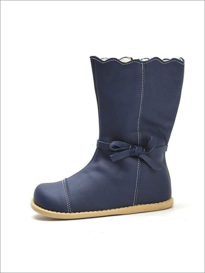 Girls Fleece Lined Bow Tie Mid-Calf Winter Boots - Navy / 5 - Girls Boots