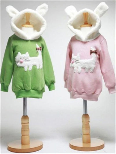 Girls Fleece Lined Hoodie with Cat Applique - Girls Sweater
