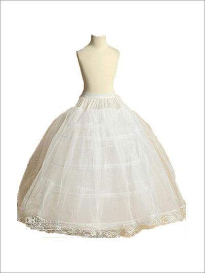 Girls Floor Length Flower Girl 4 Hoop Petticoat With Lace Trim - Flower Girl Dresses