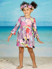 Girls Floral A-Line Long Flared Sleeve Dress - Girls Fall Casual Dress