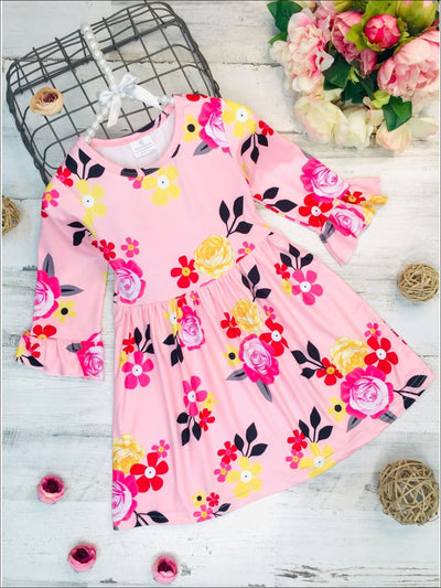 Girls Floral A-Line Long Flared Sleeve Dress - Pink / S-3T - Girls Fall Casual Dress