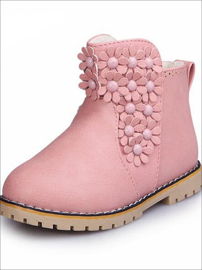 Girls Floral Applique Ankle Booties - Girls Boots