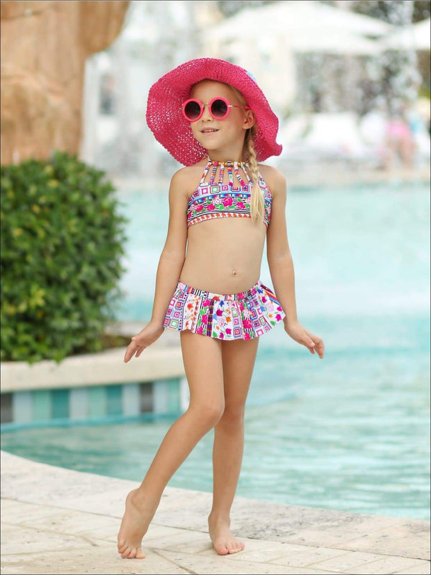 Girls Floral Beaded Haltered Bandeau Skirted Two Piece Swimsuit - Girls Two Piece Swimsuit