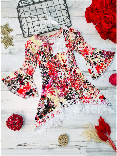 Girls Floral Bell Sleeve Leaf Crochet Fringe Tunic with Flower Applique - Multicolor Floral / 2T/3T - Girls Fall Top