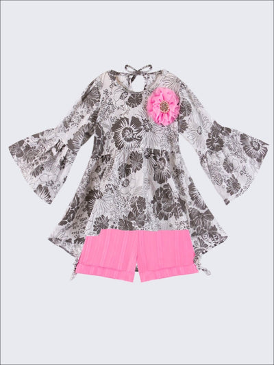 Girls Floral Boho Tunic Blouse & Shorts Set - Girls Spring Casual Set
