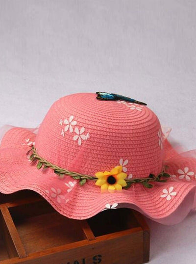 Girls Floral Butterfly Embellished Floppy Straw Hat - Pink / One Size - Girls Hats