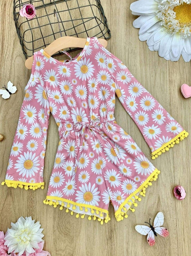 Girls Floral Cold Shoulder Drawstring Romper with Pom Pom or Crochet Trim - Girls Jumpsuit