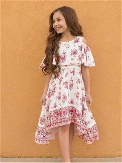 Girls Floral Cold Shoulder Flare Overlay Bohemian Hi-Lo Dress - Girls Spring Casual Dress