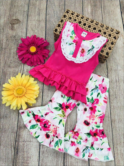 Girls Floral Crochet Ruffled Top & Flared Leggings Set - Girls Spring Casual Set