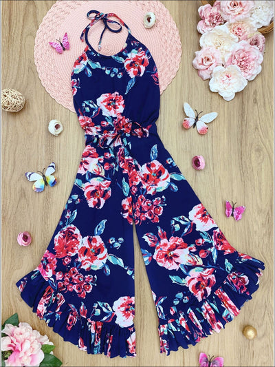 Girls Floral Drawstring Ruffled Palazzo Jumpsuit - Navy / 2T/3T - Girls Jumpsuit