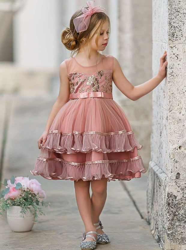 Girls Floral Embellished Tulle Dress - 3T / Pink - Girls Spring Dressy Dress