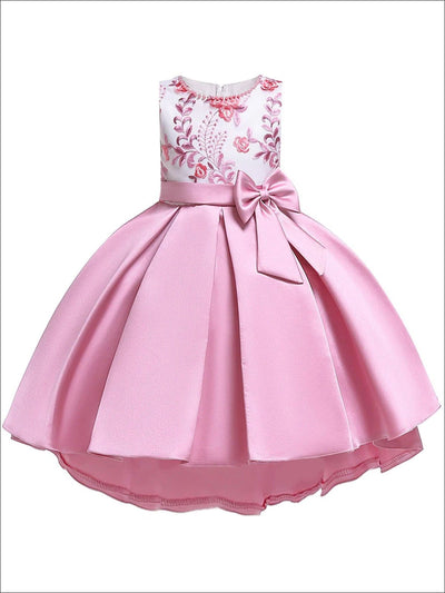 Girls Floral Embroidered Beaded Neckline Satin Pleated Bow Special Occasion & Flower Girl Dress - Pink / 3T - Girls Spring Dressy Dress