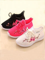 Girls Floral Embroidered Sneakers - Girls Sneakers