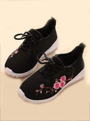 Girls Floral Embroidered Sneakers - Black / 1 - Girls Sneakers