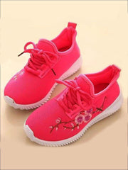 Girls Floral Embroidered Sneakers - Pink / 1 - Girls Sneakers