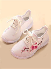 Girls Floral Embroidered Sneakers - White / 1 - Girls Sneakers