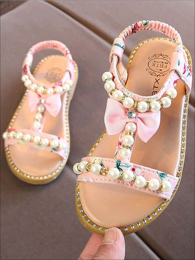 Girls Floral & Faux Pearl Embellished Sandals - Pink / 5.5 - Girls Sandals