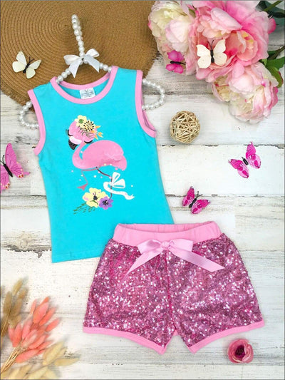 Girls Floral Flamingo Tank and Sequin Bow Shorts Set - Turquoise / 2T - Girls Spring Casual Set