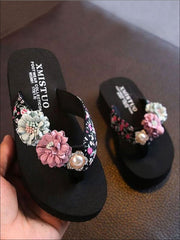 Girls Floral Flip Flops with Pearl Embellishment - Black / 1 - Girls Slides