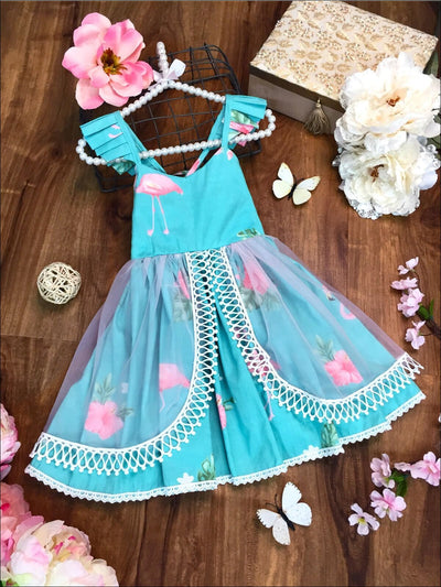 Girls Floral Flutter Sleeve Lace Trimmed Overlay Skirt Dress - Girls Spring Dressy Dress