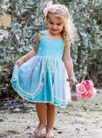 Girls Floral Flutter Sleeve Lace Trimmed Overlay Skirt Dress - Blue / 2T/3T - Girls Spring Dressy Dress