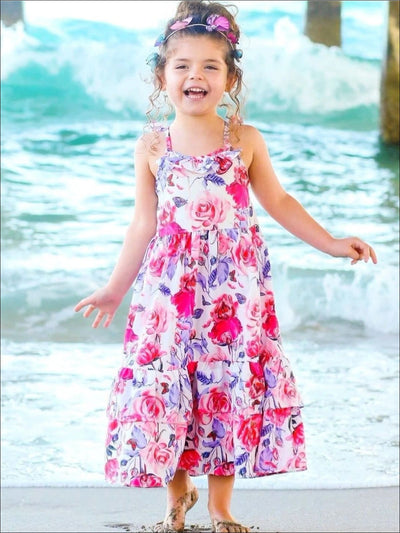 Girls Floral Flutter Sleeve Strappy Back Boho Maxi Special Occasion Party Dress - Similar To Image / 4T - Girls Spring Casual Dress