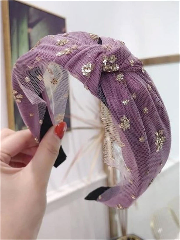 Girls Floral Glitter Dotted Lace Knot Headband - Lavender - Hair Accessories