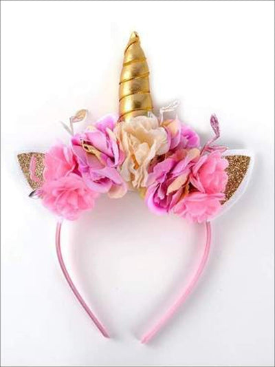 Girls Floral Gold Unicorn Headband - Girls Unicorn Headband
