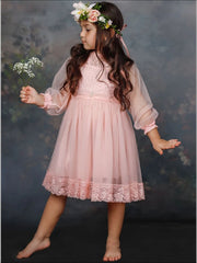 Girls Floral Hem Lace Dress - Girls Spring Dressy Dress