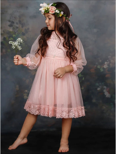 Girls Floral Hem Lace Dress - Pink / 4T - Girls Spring Dressy Dress