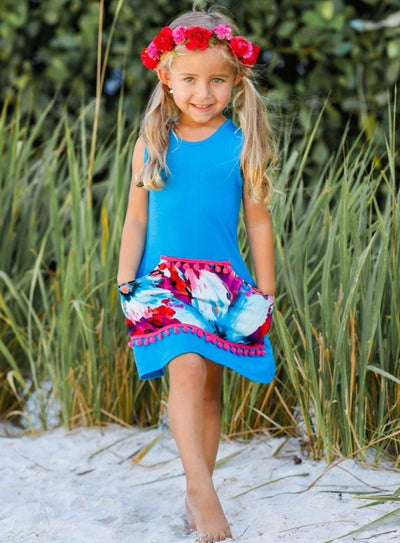Girls Floral Kangaroo Pocket Dress - Girls Spring Casual Dress