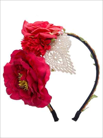 Girls Floral Lace Applique Headband - Red - Hair Accessories