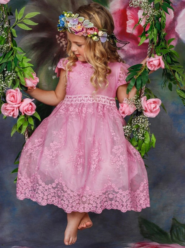 Girls Floral Lace Casual Dress - Girls Spring Casual Dress